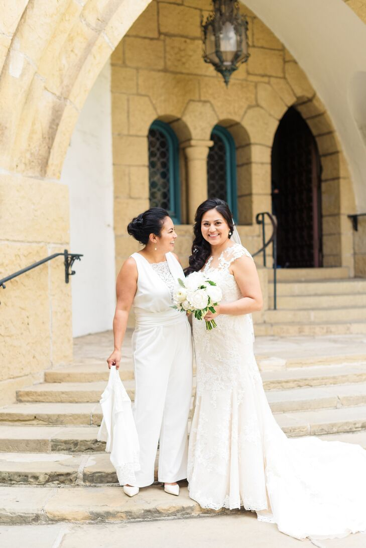"""""""We knew we wanted both the ceremony and reception outside to take advantage of the sun,"""" Andrea says. The couple chose the Sunken Gardens at the Santa Barbara County Courthouse for the ceremony, followed by a backyard reception at the nearby Riviera Mansion."""