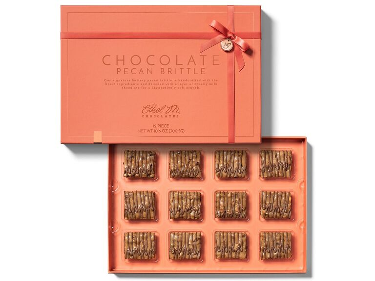 Chocolate pecan brittle box gift for boyfriend/girlfriend's parents