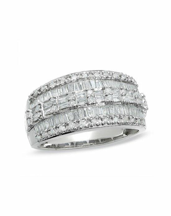 Zales 1 CT. T.W. Baguette and Round Diamond Three Row Ring in 10K White Gold  17925793 Wedding Ring photo