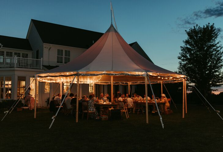 Guests Enjoyed the Glow of String Lights During Wedding Reception