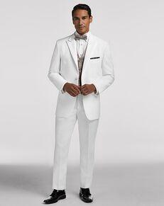 Men's Wearhouse Pronto Uomo White Satin Edged Peak Lapel White Tuxedo