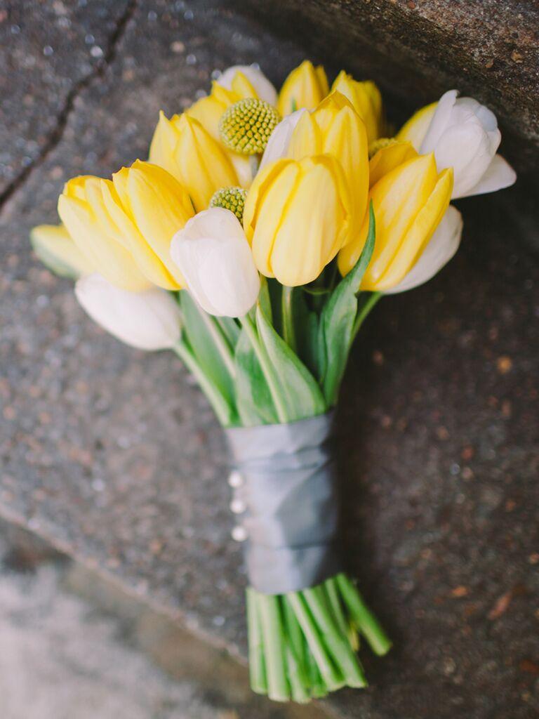 Tulip and craspedia wedding bouquet ideas