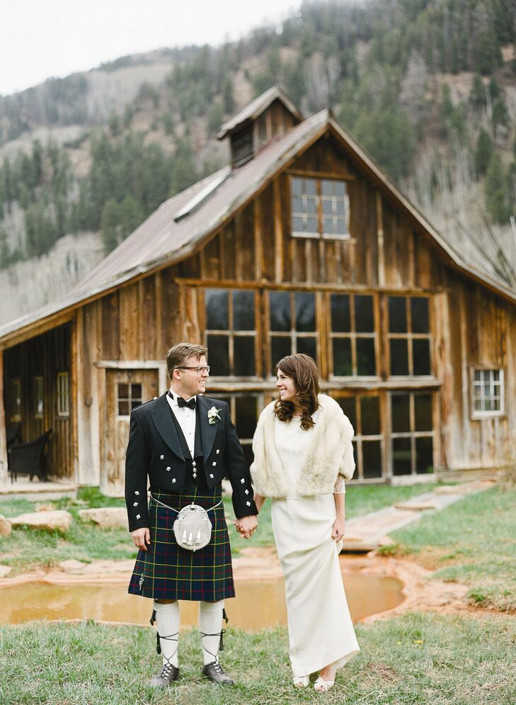 Carl and his groomsmen rented kilts and wore the full outfit. The guys had so much fun in them--we were all joking that they would be wearing them home! Karine says.