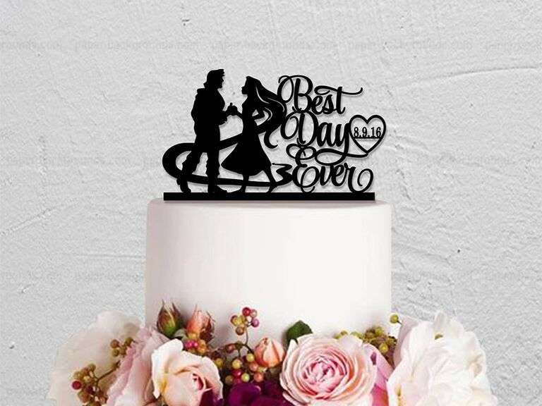 Black acrylic topper with Rapunzel and Finn silhouettes and 'Best Day Ever' in elegant script