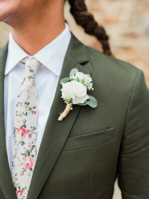 Groom with Braided Hair, Green Suit, Floral-Print Tie and Rose Boutonniere