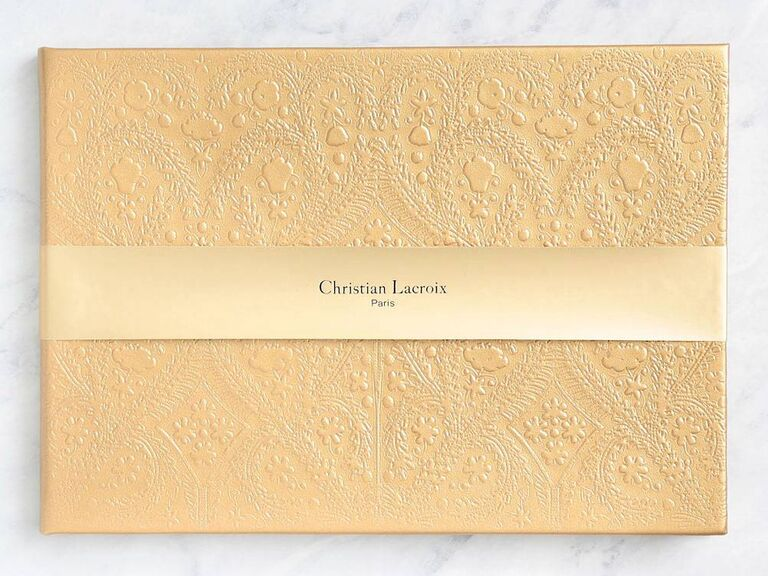 paper source yellow wedding guest book idea with detailed cover