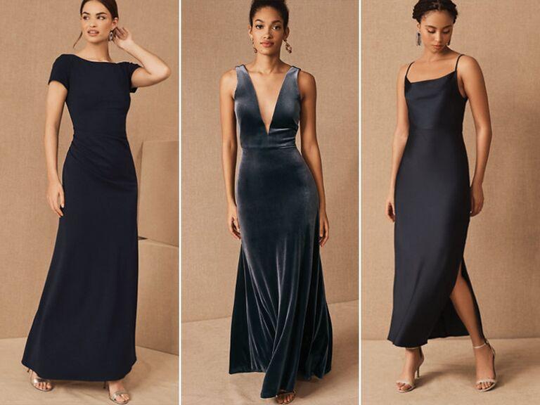 Mismatched Navy Blue Bridesmaid Dresses
