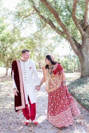 Couple in Traditional Indian Sari and Sherwani for South Carolina Wedding