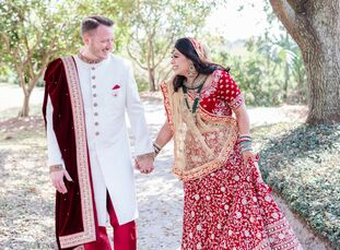 Before tying the knot with a blush-and-gold wedding ceremony at Harborside East in Charleston, South Carolina, Krutika and Brad kicked off their multi