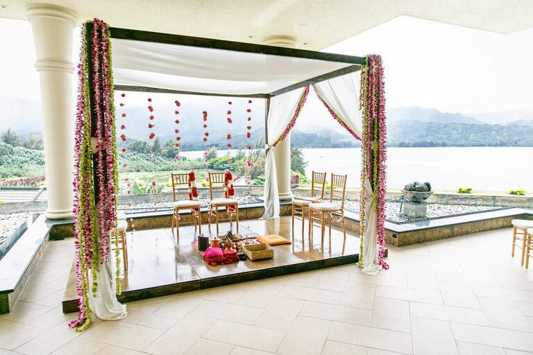 Simple mandap overlooking the water at a resort
