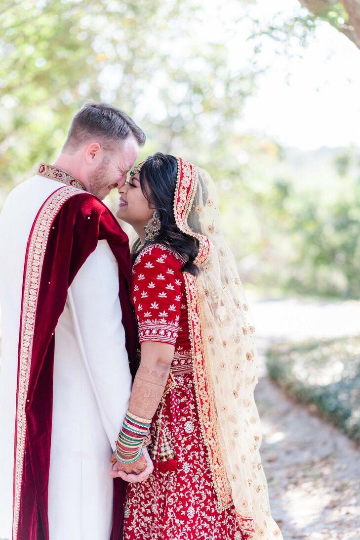 Groom in Sherwani and Bride in Sari Sharing Embrace