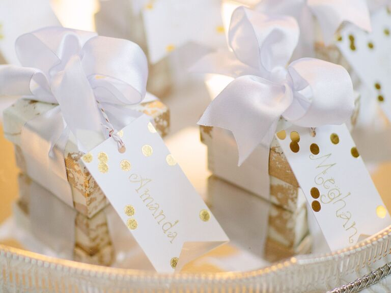 Elegantly wrapped bridesmaid gifts