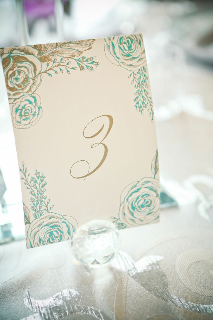 Gold and Teal Table Numbers