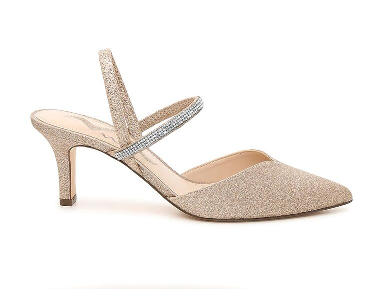 dsw mother of the groom pump with gold glitter and jeweled strap