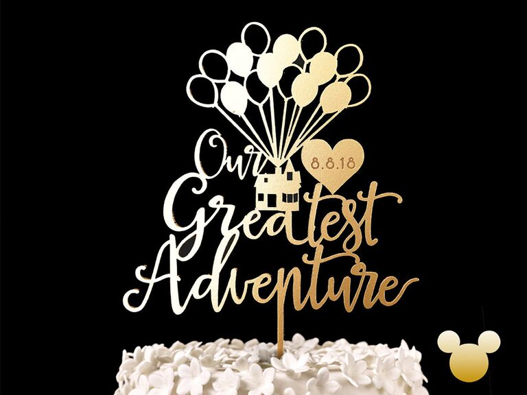 'Our Greatest Adventure' in gold script with house from 'Up' and heart with wedding date