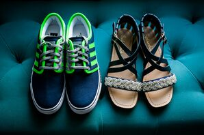Navy and Neon Green Sneakers