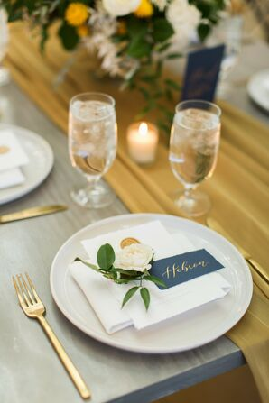 Romantic Place Settings for Reception at The Ivory Oak in Wimberley, Texas