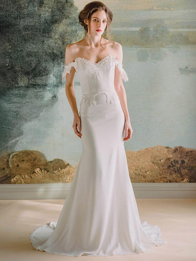 claire pettibone trắng váy cưới trễ vai với đường viền ren ngực chữ v và váy hoa trơn váy cưới màu trắng đẹp