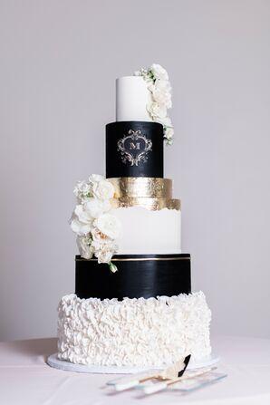 Glam Black-and-White Tiered Wedding Cake