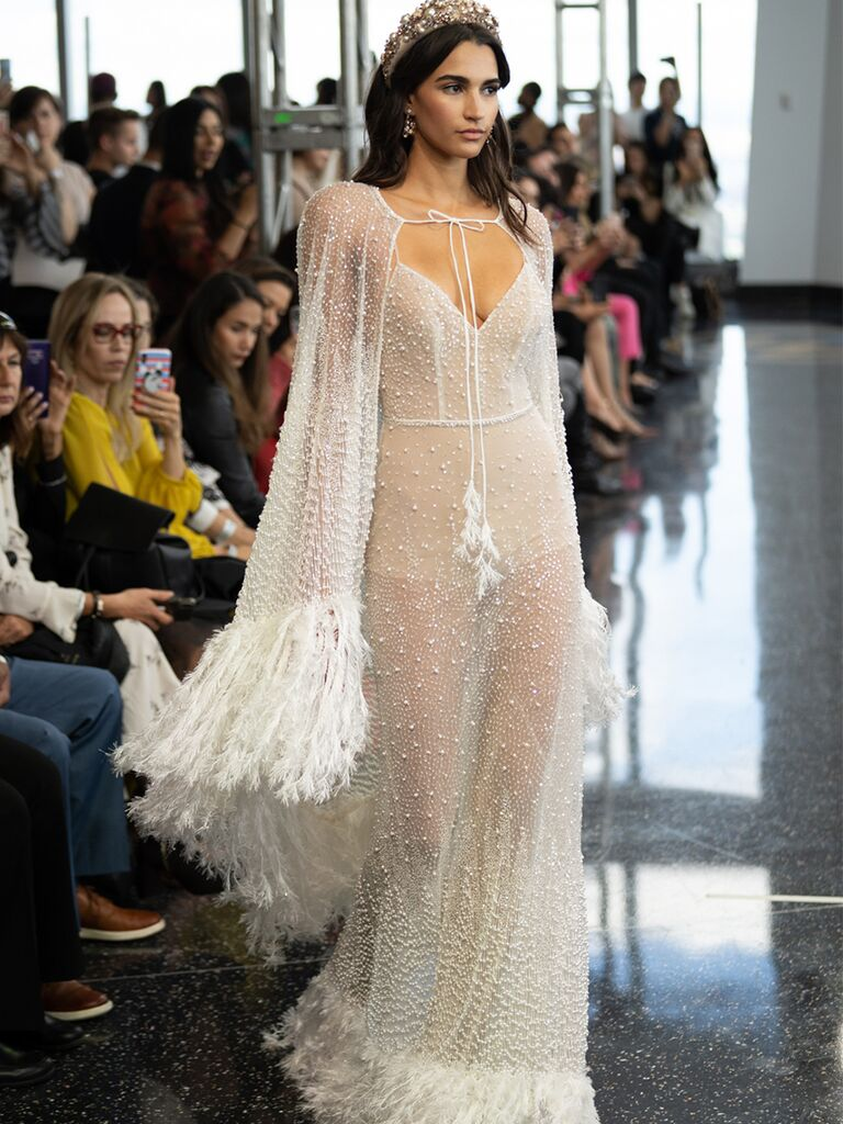 beaded feather gown with cape
