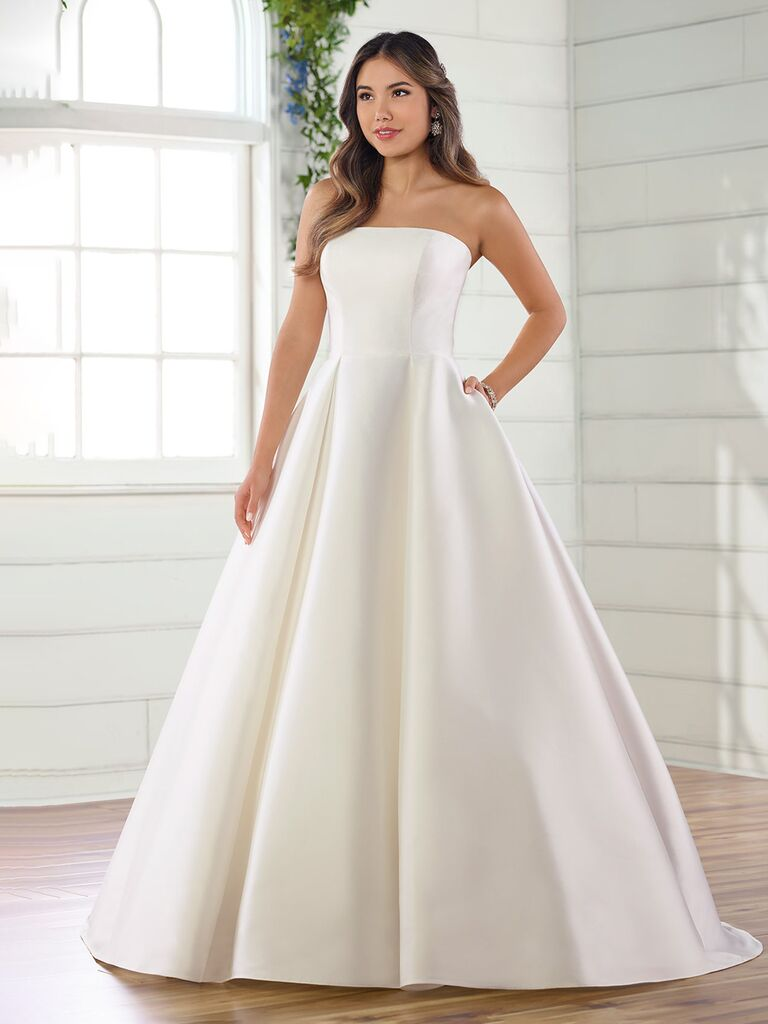 essense of australia strapless white a line wedding dress with pleated ball gown skirt and pockets
