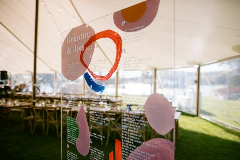 Painted acrylic seating chart