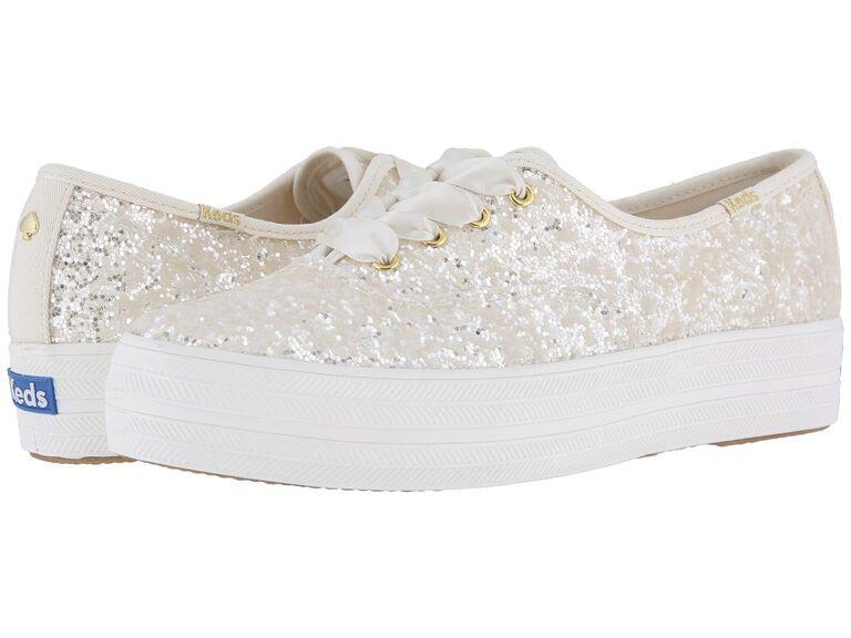 White sparkly wedding sneakers