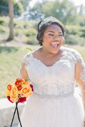 Bride Wearing Tiara and Holding Orange Bouquet