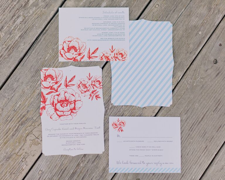 Red and Light Blue Striped Floral Stationery Suite