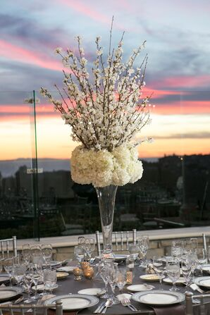 Cherry Blossom and Hydrangea Tall Centerpieces
