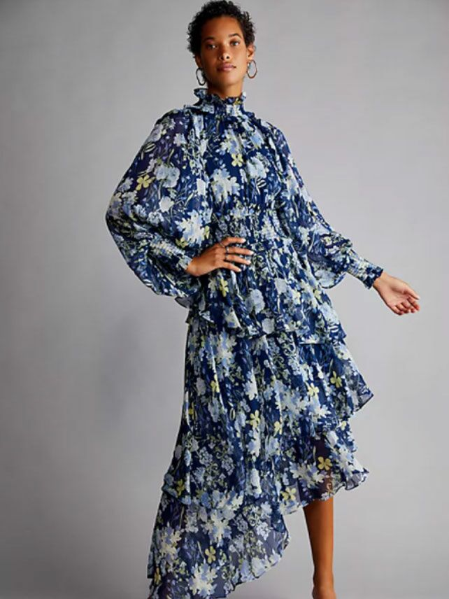 Blue long sleeve floral print fall wedding guest dress with ruffled high neckline