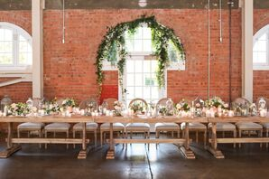 Rustic Indoor Reception With Floral Garlands