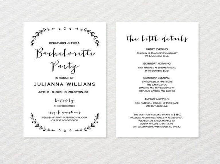 Printable Rustic Bachelorette Invite & Itinerary