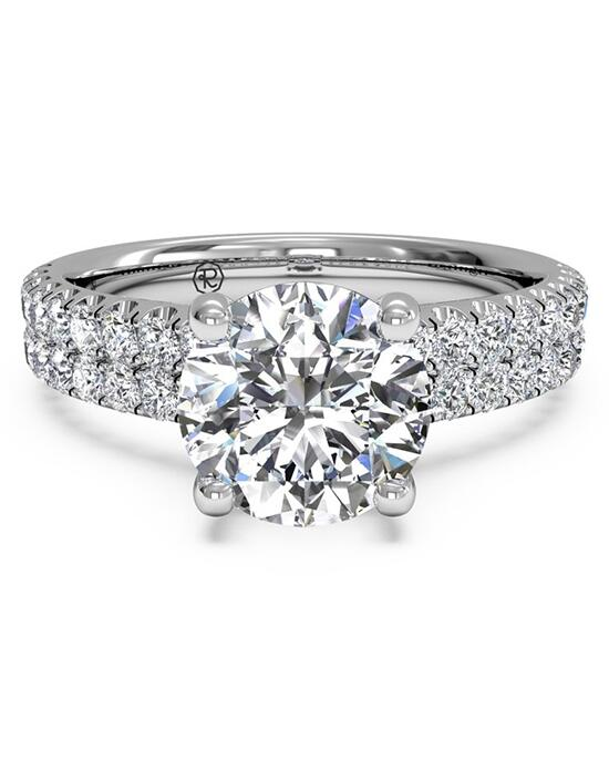 Ritani Double French-Set Band Engagement Ring - in 14kt White Gold (0.59 CTW) for a Diamond Center Stone Engagement Ring photo