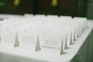 Simple, Modern White Place Cards