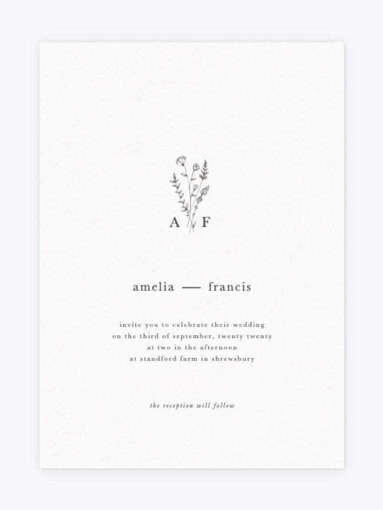 Inexpensive wildflower motif simple wedding invitation