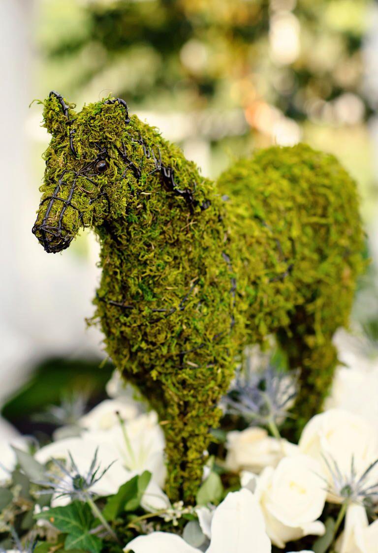 Miniature horse moss topiary