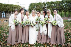 Taupe Bill Levkoff Bridesmaid Dresses