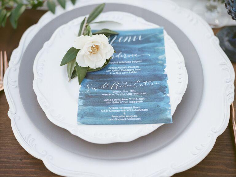 Blue menu at a wedding reception