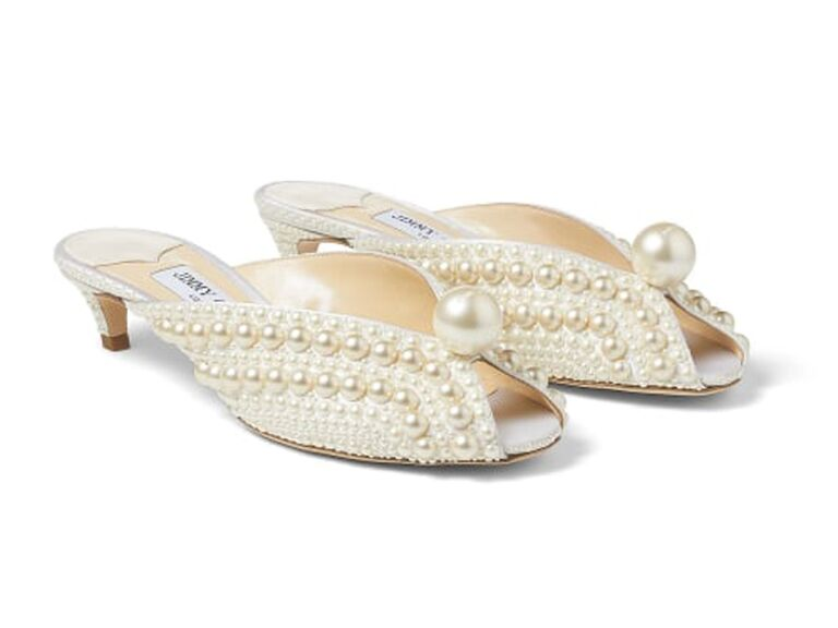 jimmy choo bride slippers with pearls and short heel