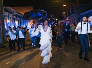 """Caroline Sobiesuo and Andrew Matina may be based in Brooklyn, New York, but a destination wedding in The Big Easy was a must since they love the, """"Fre"""