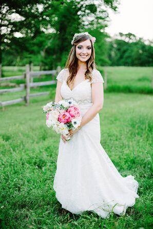 Boho Sheer Cap-Sleeve Wedding Dress