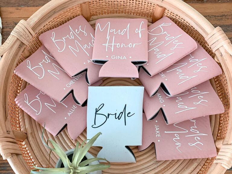 Personalized can koozies inexpensive bridal party gifts