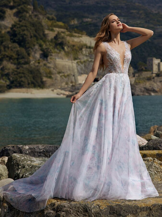 Ines by Ines Di Santo sleeveless wedding dress with pastel flowers