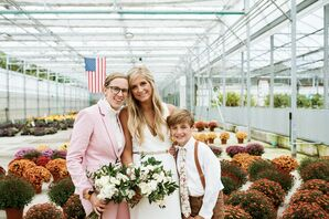 Couple and Son at Wedding at The Lit in Grand Rapids, Michigan