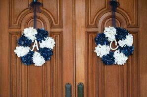 Navy and White Wreaths With Initials