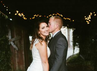 rn                    High school sweethearts Trisha Ross (25 and a sales and development coordinator) and Nic Remund (24 and a farmer) held a modern,
