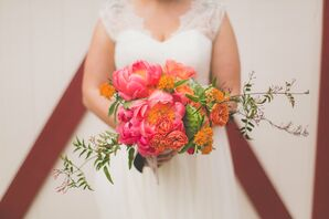 Pink Peony Bouquet with Cactus Paddles