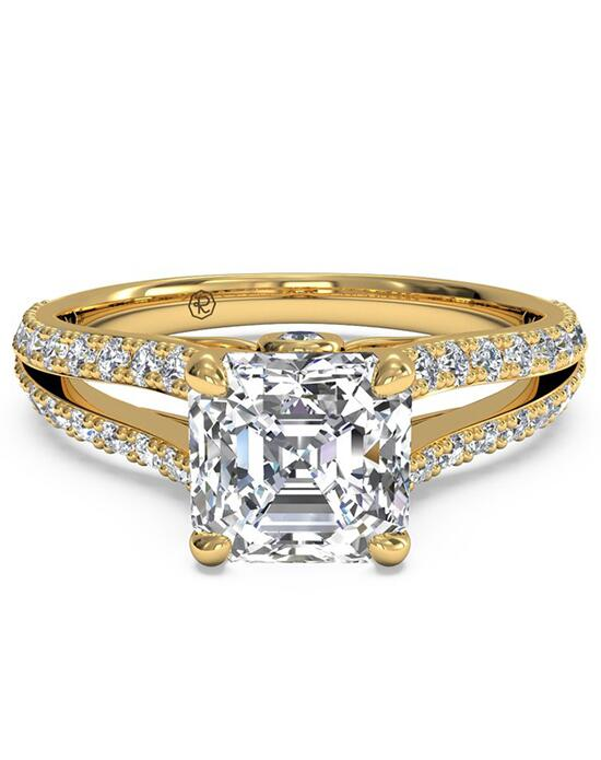 Ritani Double French-Set Diamond 'V' Engagement Ring with Surprise Diamonds - in 18kt Yellow Gold (0.24 CTW) for a Asscher Center Stone Engagement Ring photo