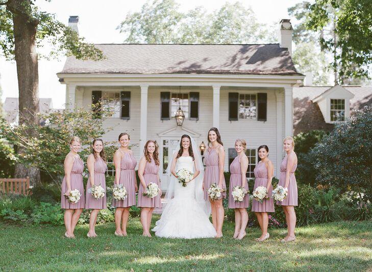 Short Blush J.Crew Bridesmaid Dresses